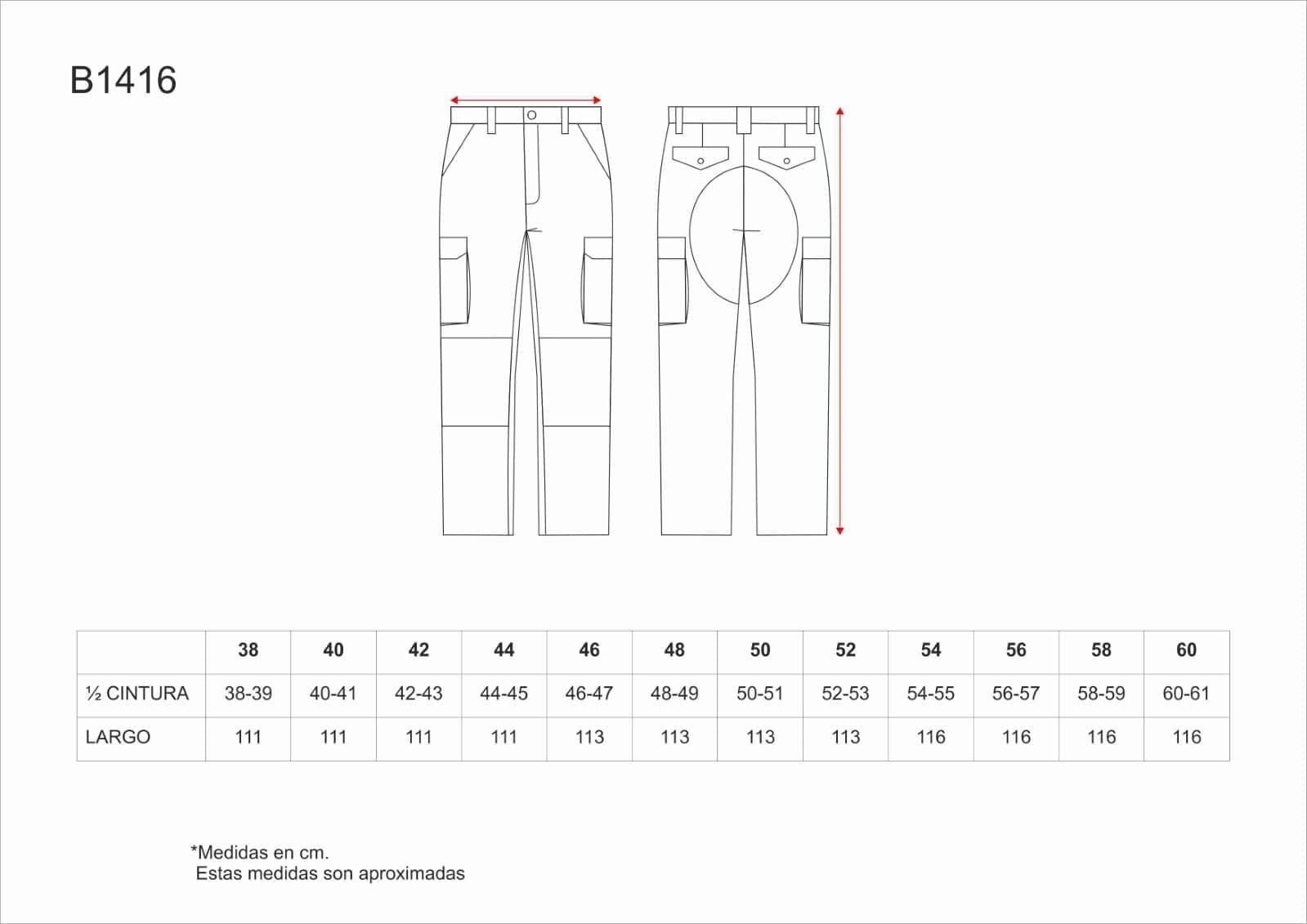 f0c17ec637c Pantalón de Trabajo Industrial Multibolsillos con Refuerzos B1416 ...